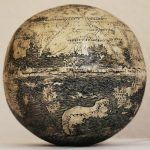 One of the oldest maps of the New World, c.1504 AD, engraved on a 500 year old ostrich egg.